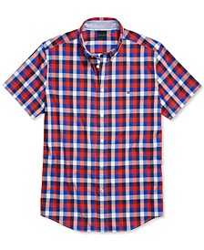 Men's Ledger Check Short-Sleeve Shirt with Magnetic Buttons