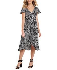 Ditsy Floral-Print Flutter-Sleeve Dress