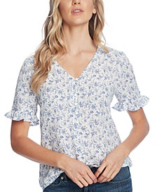 Printed Ruffled V-Neck Top