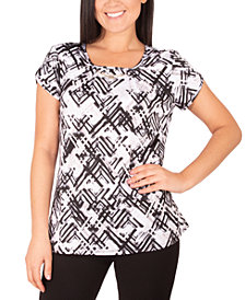 NY Collection Petite Necklace-Trim Petal-Sleeve Top