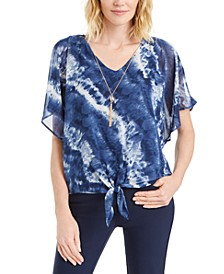 Plus Size Tie-Front Tie-Dyed Necklace Top, Created for Macy's