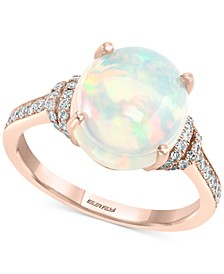 EFFY® Opal (3-1/6 ct. t.w.) & Diamond (1/4 ct. t.w.) Ring in 14k Rose Gold