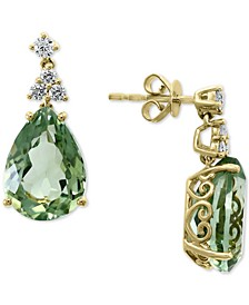 EFFY® Green Quartz (11-1/3 ct. t.w.) & Diamond (1/3 ct. t.w.) Drop Earrings in 14k Gold