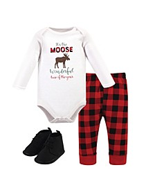 Baby Girls and Boys Moose Wonderful Time Bodysuit, Pant and Shoe Set, Pack of 3