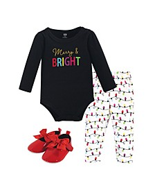 Baby Girls Merry Bright Bodysuit, Pant and Shoe Set, Pack of 3