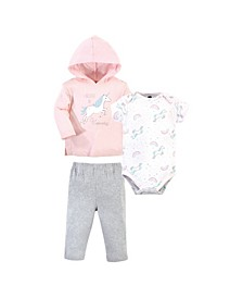 Baby Girls Glitter Unicorn Hoodie, Bodysuit or Tee Top and Pant Set, Pack of 3