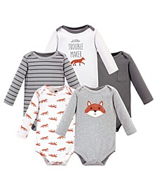 Baby Girls and Boys Little Fox Long-Sleeve Bodysuits, Pack of 5