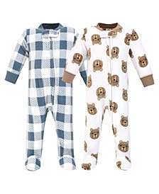 Baby Girls and Boys Little Bear Fleece Sleep and Play, Pack of 2