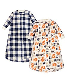 Baby Girls and Boys Forest Long-Sleeve Fleece Sleeping Bag, Pack of 2