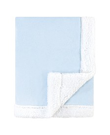 Baby Boys Plush Blanket with Sherpa Binding and Back