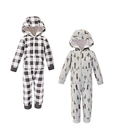 Baby Toddler Girls and Boys Forest Bear Fleece Coveralls and Playsuits Jumpsuits, Pack of 2