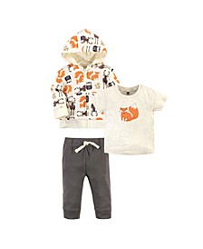 Baby Toddler Girls and Boys Forest Hoodie, Bodysuit or Tee Top and Pant Set, Pack of 3