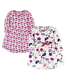 Toddler Girls Botanical Long-Sleeve Dresses, Pack of 2