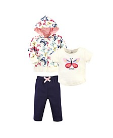 Toddler Girls and Boys Bright Butterflies Hoodie, Bodysuit or Tee Top and Pant, Pack of 3