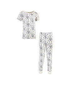 Toddler Girls and Boys Elephant Tight-Fit Pajama Set, Pack of 2