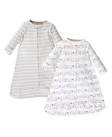 Baby Girls and Boys Safari Long-Sleeve Wearable Sleeping Bag Sack, Pack of 2