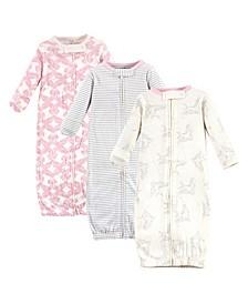 Baby Girls Bird Zipper Gowns, Pack of 3