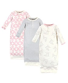 Baby Girls Bird Henley Gowns, Pack of 3