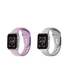 Men's and Women's Apple Sweet Lilac Gray Silicone, Leather Replacement Band 44mm