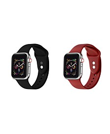 Men's and Women's Apple Black Red Silicone, Leather Replacement Band 40mm