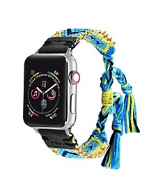 Men's and Women's Apple Multi Colored Friendship Cotton, Stainless Steel Replacement Band 44mm