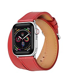 Men's and Women's Apple Red Leather Replacement Band 44mm