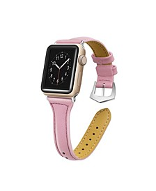 Men's and Women's Apple Pink Skinny Leather Replacement Band 44mm