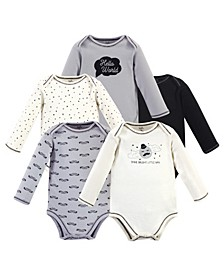 Baby Girls and Boys Mr. Moon Long-Sleeve Bodysuits, Pack of 5