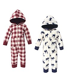 Baby Girls and Boys Moose Fleece Jumpsuits and Coveralls, Pack of 2