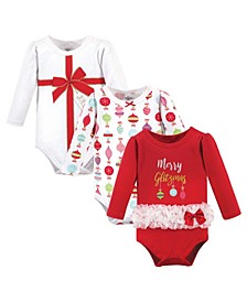 Baby Girls Glitzmas Bodysuits, Pack of 3