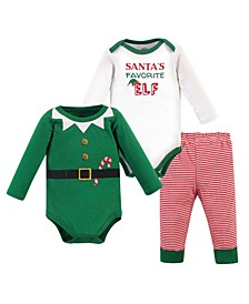 Baby Girls and Boys Elf Bodysuit and Pant Set, Pack of 3