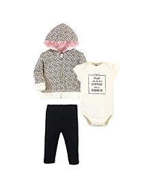Baby Girls and Boys Leopard Hoodie, Bodysuit or Tee Top and Pant Set, Pack of 3