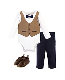 Baby Boys Herringbone Vest Bodysuit, Pant and Shoe Set, Pack of 3