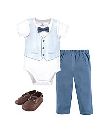 Baby Boys Bodysuit, Pant and Shoe Set, Pack of 3