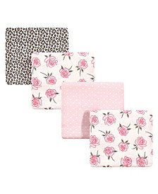 Baby Girls Rose Leopard Flannel Receiving Blankets, Pack of 4