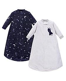 Baby Girls and Boys Spaceship Yoga Sprout Long-Sleeve Fleece Sleeping Bag Sack, Pack of 2