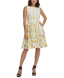 Cascading Daisy-Print Fit & Flare Dress