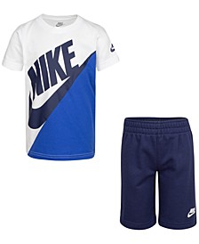 Little Boys 2-Pc. Colorblocked Logo T-Shirt & Shorts Set