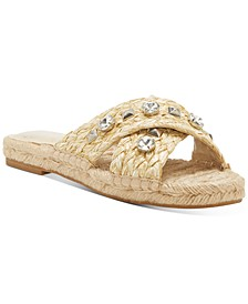 Women's Jermindi Embellished Raffia Slide Sandals