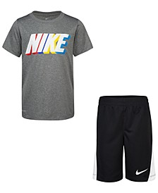Little Boys 2-Pc. Dri-FIT Block Logo T-Shirt & Shorts Set