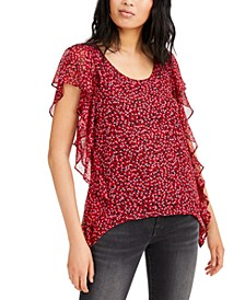 Petal Prints Ruffled Top