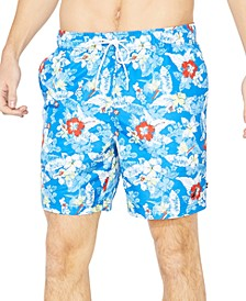 "Men's Hibiscus Print 8"" Swim Trunks"