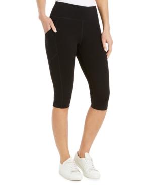 Calvin Klein Performance Outline-logo High-waist Capri Leggings In Black Combo
