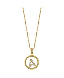"Flash Gold Plated Initial Crystal Shaker Pendant Necklace, 16""+2"" Extender"