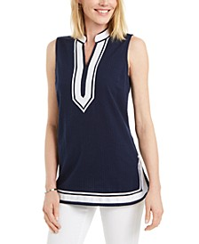Seersucker Woven Tunic Top, Created for Macy's