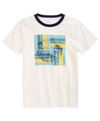 Epic Threads Boys Striped Sneakers T-Shirt Medium Grey Large