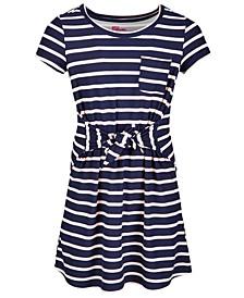 Big Girls Short Sleeve Tie Front Striped Dress
