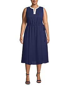 Plus Size Split-Neck Drawstring-Waist Dress