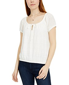 Juniors' Tie-Front Lace Top