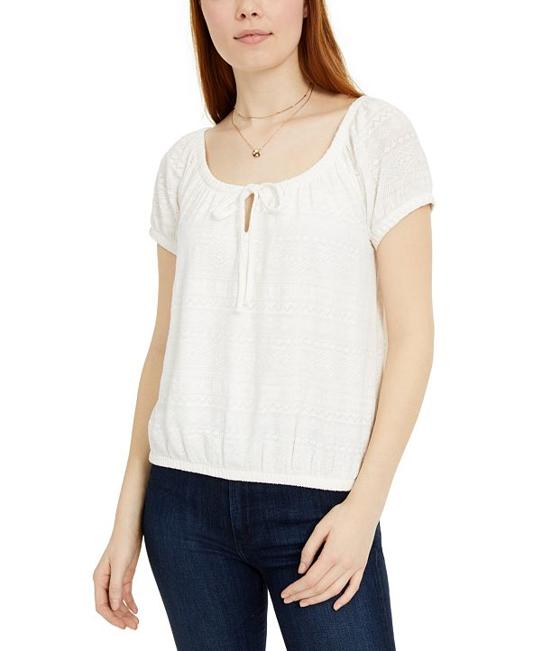 Hippie Rose Juniors' Tie-Front Lace Top
